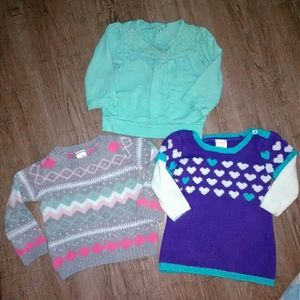 3 baby girl sweaters purple hearts fair isle mint